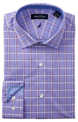 Nautica Burgundy Blue Windowpane Classic Fit Dress Shirt