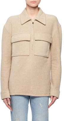 Victoria Beckham Victoria Zip-Front Long-Sleeve Wool-Blend Pullover Top w/ Patch Pockets