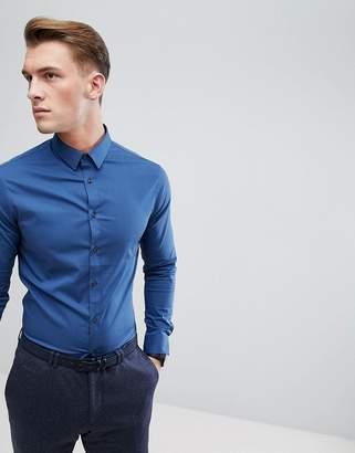 Celio Slim Smart Long Sleeve Shirt In Blue