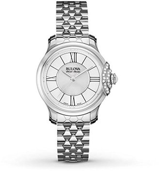 Bulova Women's Quartz Stainless Steel Dress Watch, Color:Silver-Toned (Model: 63R143) $399 thestylecure.com