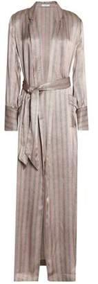 Equipment Florian Striped Herringbone Silk-Satin Robe