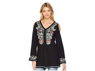 Scully Camelotte Cold Shoulder Embroidered Tunic