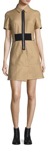 Alexander WangAlexander Wang Short-Sleeve Zip-Front Shirtdress, Safari