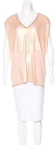 Fendi Metallic Cap Sleeve Blouse