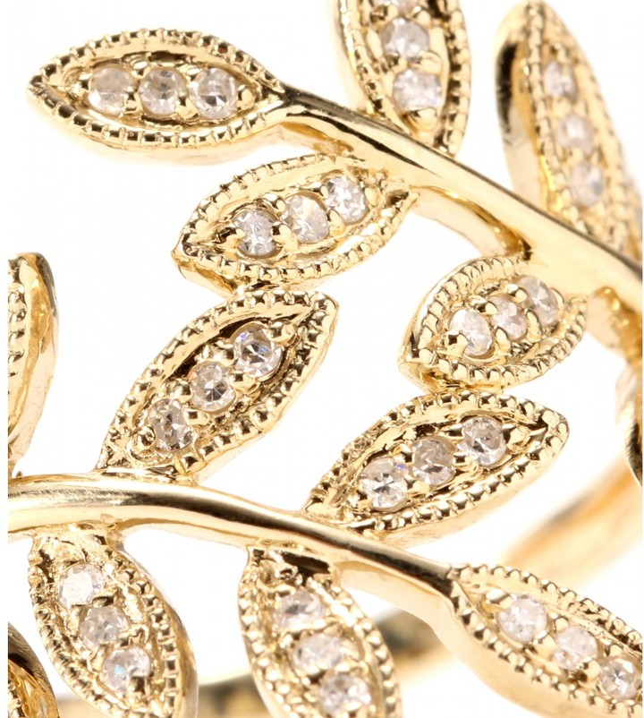 Jacquie Aiche 14kt yellow Gold Wrap Leaves ring with white pave diamonds