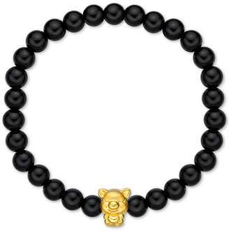 "Chow Tai Fook Chalcedony Bead Bracelet With 24k Gold ""Piggy"" Charm"