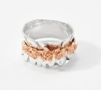 Or Paz Sterling Silver Gathered Rose Ring