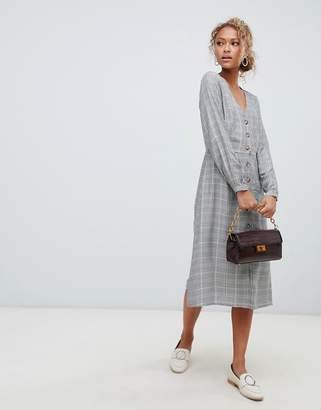New Look Button Through Check Midi Dress
