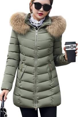 Liouliu Women's Down Coat Fur Hood Down Parka Puffer Jacket