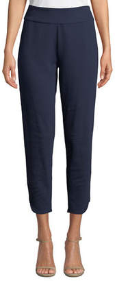 Joan Vass Stretch-Interlock Cropped Pants with Notched Hem