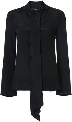 Derek Lam Long Sleeve V-Neck Scarf Neck Blouse