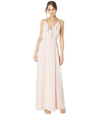WAYF The Jamie Lace-Up Back Ruffle Cross Front Gown