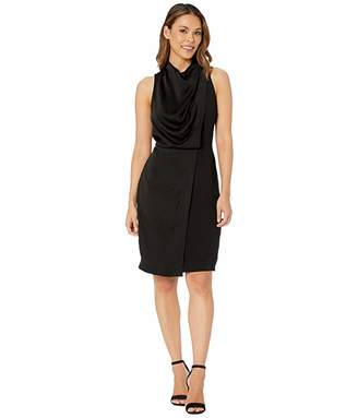 Halston Sleeveless Cowl Drape Satin Crepe Combo Dress