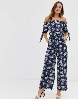 Yumi floral tie sleeve jumpsuit