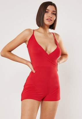 Missguided Red Cami Wrap Romper