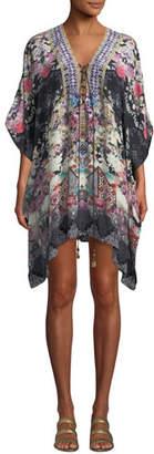 Camilla Printed Lace-Up Short Kaftan Coverup