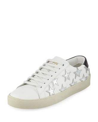 Saint Laurent Court Classic Low-Top Sneaker with Stars