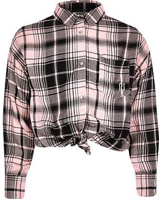 River Island Girls Pink check back print shirt