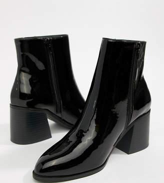 London Rebel Wide Fit Block Heel Ankle Boots