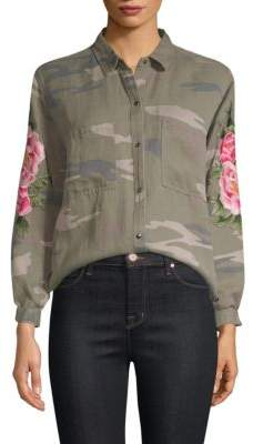 Rails Marcel Camo Floral-Embroidered Top
