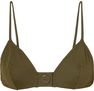 Eres Pop Sea Button-detailed Triangle Bikini Top - Army green