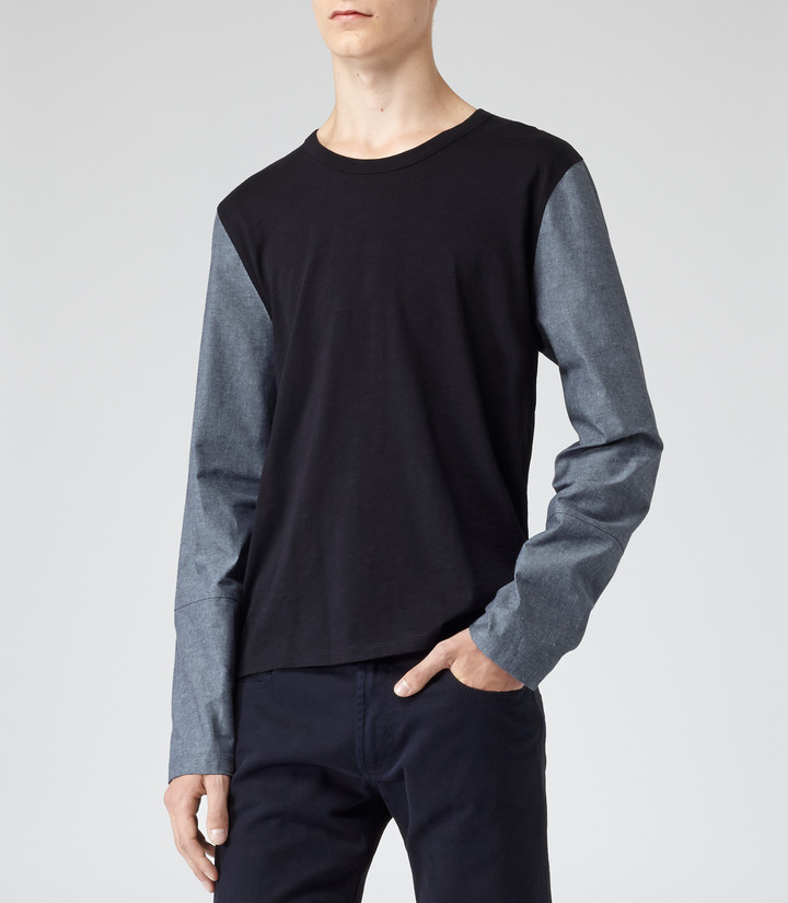 1971 Reiss 1971 Valence CREW NECK CHAMBRAY SLEEVE TOP