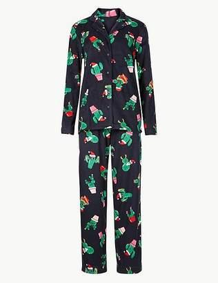 Marks and Spencer Fleece Cactus Print Long Sleeve Pyjama Set