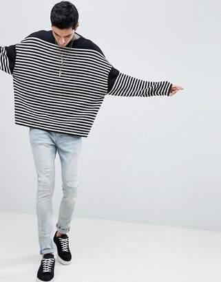 AllSaints Oversized Sweater With Breton Stripe