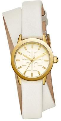 Tory Burch Gigi Double Wrap Leather Strap Watch, 28mm