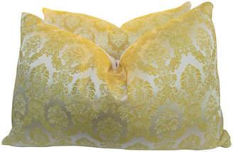 One Kings Lane Vintage Italian Silk Damask & Lattice Pillows - AntiqueLifestyle
