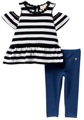 Kate Spade cold-shoulder stripe tunic & leggings set (Baby Girls)