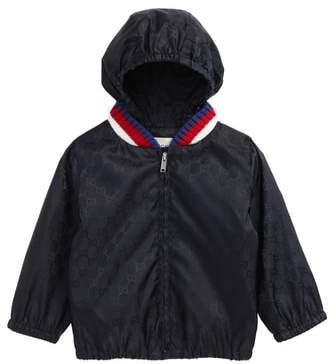 Gucci GG Logo Jacquard Hooded Rain Jacket