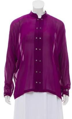 Nicole Miller Long Sleeve Silk Top