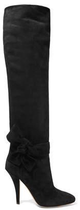 Valentino Garavani Bow-embellished Suede Knee Boots - Black