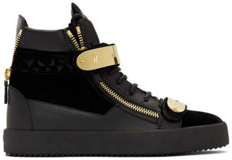 Giuseppe Zanotti Black Velvet May London High-Top Sneakers