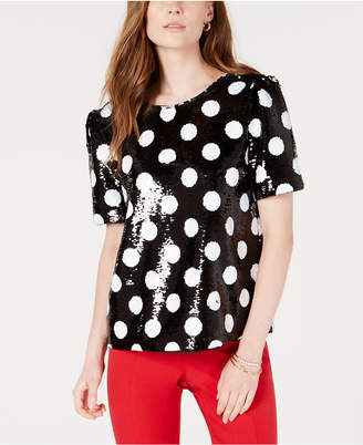 Maison Jules Sequined Polka-Dot Top