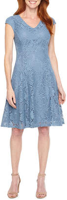 Liz Claiborne Cap Sleeve Floral Lace Fit & Flare Dress