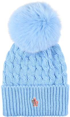 Moncler Knitted Wool Hat With Fox Fur Pom-pom
