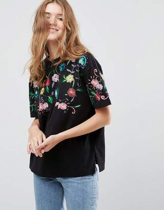Asos T-Shirt With Embroidered Yoke