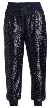 Cinq à Sept Women's Giles Sequin Crop Track Pants - Navy - Size XXS