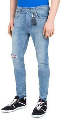 The Kooples Short Skinny & Destroys Slim Fit Jeans in Blue