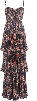 AMUR Londyn Printed Satin Maxi Gown