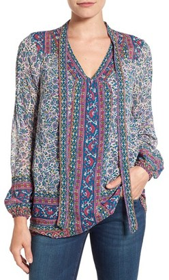Lucky Brand Woodblock Print Tie Neck Blouse $99 thestylecure.com