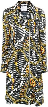 Moschino printed zip front dress