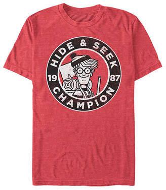 Fifth Sun Where'S Waldo Hide And Seek Champion Mens Crew Neck Short Sleeve Graphic T-Shirt