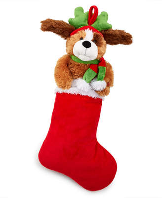 Holiday Lane Dog with Antlers and Scarf Animated Stocking Ornament