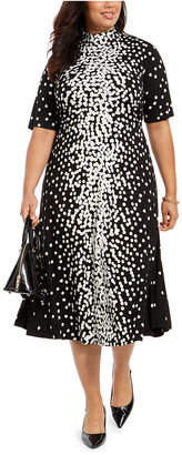 Alfani Plus Size Dot-Print Tie-Neck Dress