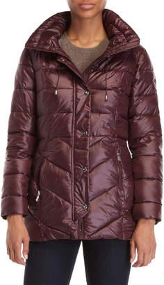 Lauren Ralph Lauren Faux Fur Chevron Quilted Coat