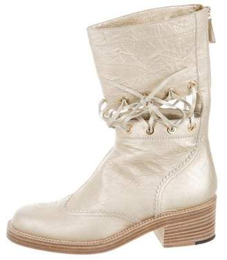 Chanel Metallic Wingtip Mid-Calf Boots