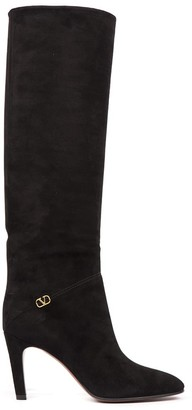 Valentino Garavani Black Suede Leather Boots